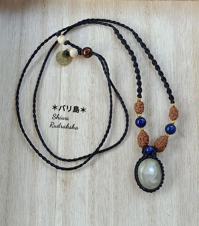 【入魂儀式済】ケオン&3面&グリーンルチル★組み紐ネックレス★ブラック