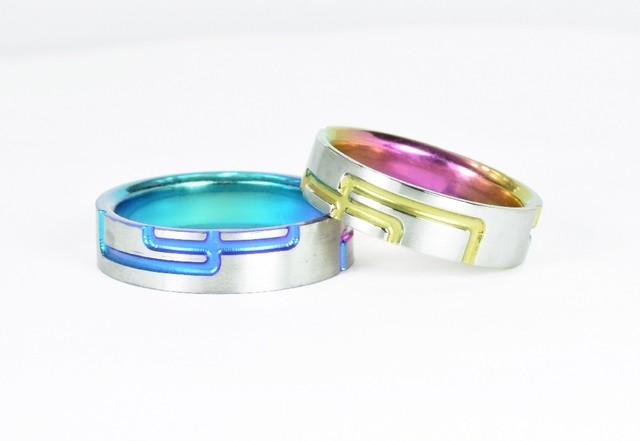 ジルコニウム結婚指輪 格子柄【繋ぎ】カラー 和彫り 金属アレルギー対応