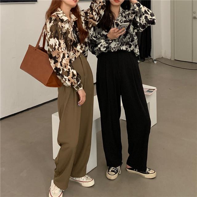 【セット】「単品注文」流行りシンプル長袖シングルブレストPOLOネックシャツ+パンツ32605456