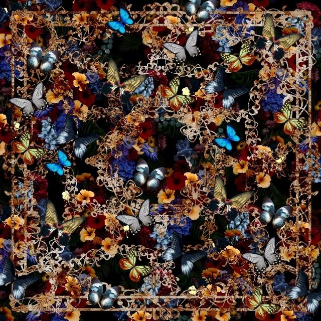 華と蝶 Black マキシフレアスカート