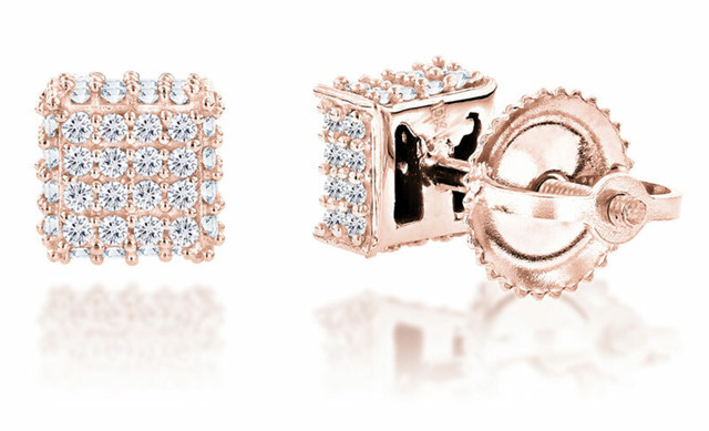 10K ROSE GOLD DIAMOND STUD EARRINGS 0.33CT
