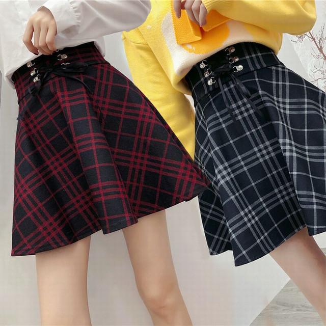 チェック柄 ミニスカート レースアップ  韓国ファッション レディース Aライン スカート フレア ハイウエスト ガーリー / Tie Tie Rope Plaid High Waist Short Skirt (DTC-604591187067)