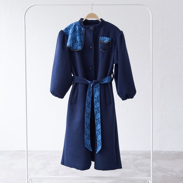 blue calm race coat 〈Dark blue〉