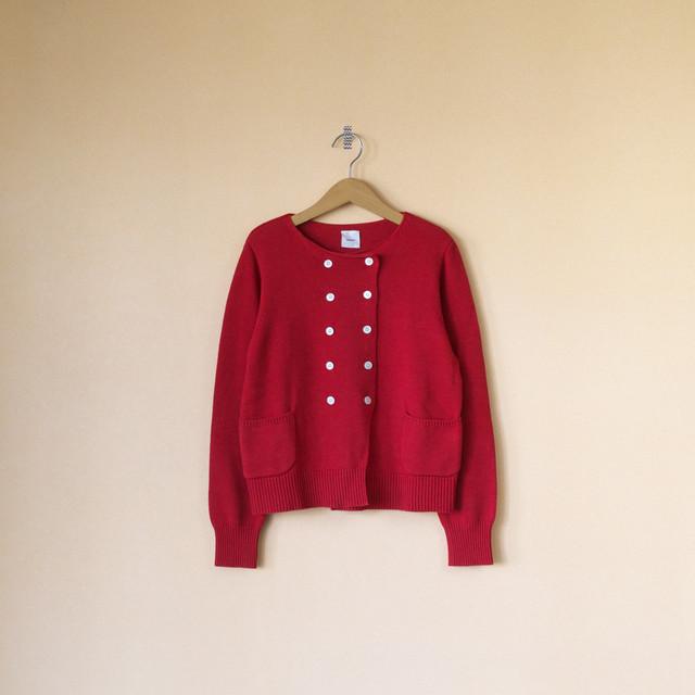 Gauze# ガーゼ G546 cotton cashmere knit jacket コットンカシミアニットジャケット・ピンクレッド