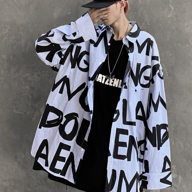 【トップス】長袖プリント字母ストリートカジュアルシャツ40398025