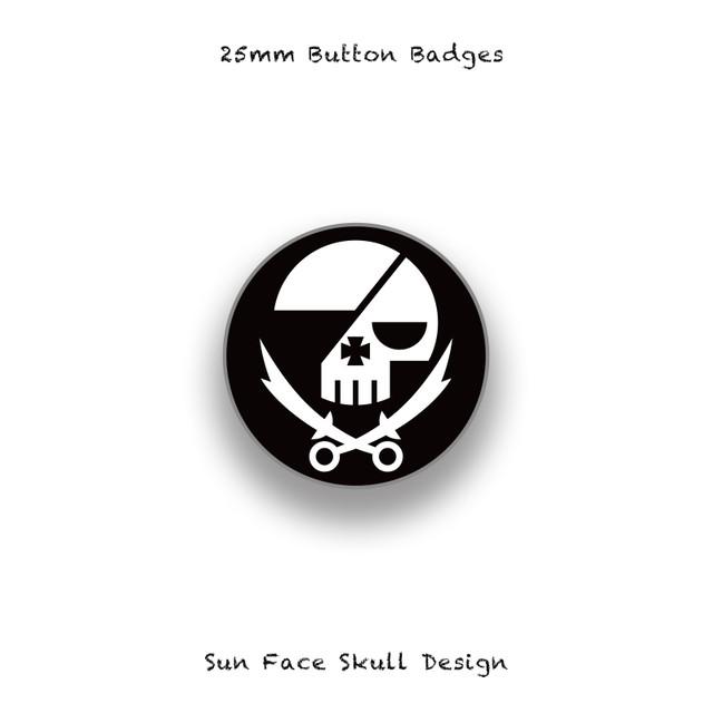 25mm Button Badges / Round Skull Design 002