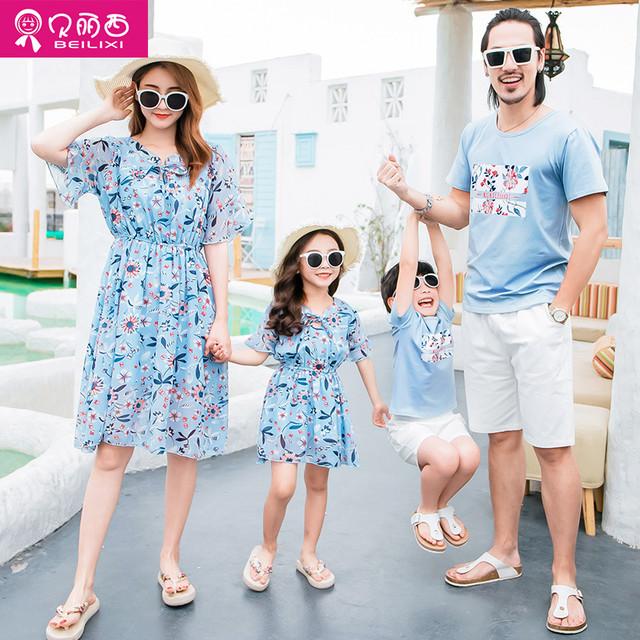 夏に3人家族と4人家族に異なる親子の衣装 サマー 夏物 贝丽西旗舰店 贝丽西旗舰店83976205140