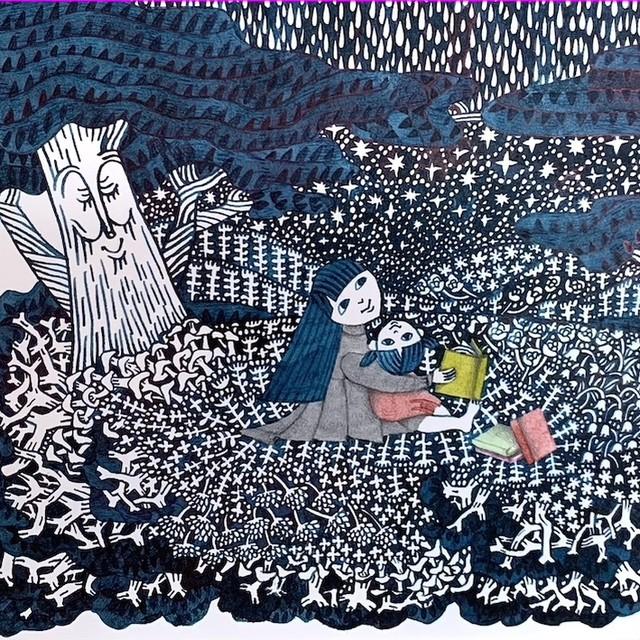 細川理衣 ガラスペン画 「あまやどり」
