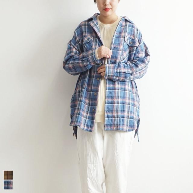 ichi イチ ネルチェックベルト付きシャツ 【返品交換不可】 (品番190514)