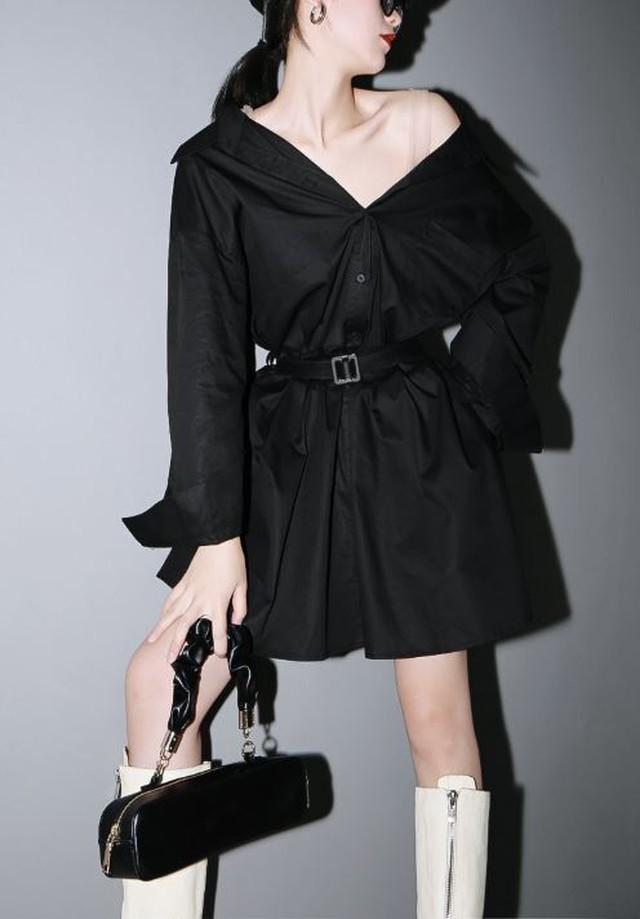 シャツ ブラウス シャツワンピース ミニワンピ ベルト付き 黒 ブラック 白 ホワイト スタイリッシュ モダン モード系 ヴィジュアル系 1279