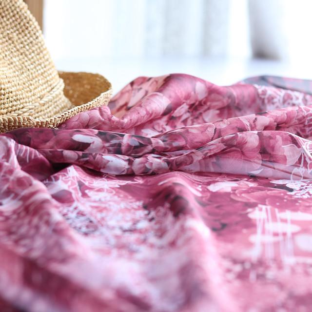 【シフォンスカーフ】水の器 紫陽花浮かべて(ワインレッド)