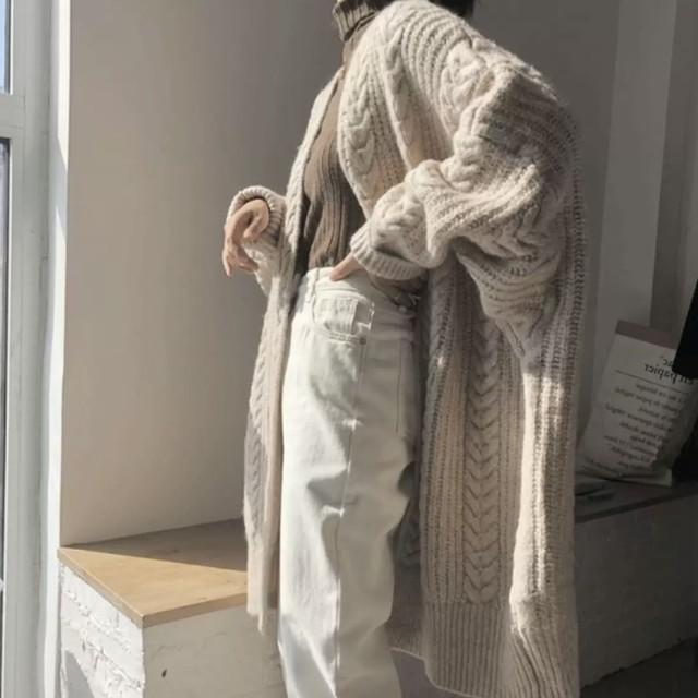 ルーズニット ミドル丈 セーター ウールアウター 2色 B4720