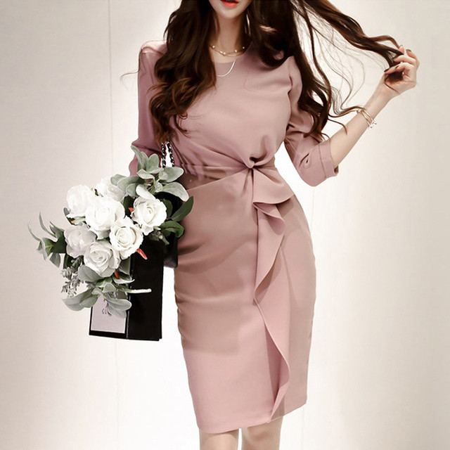 【dress】Ribbon decoration sexy formal dress