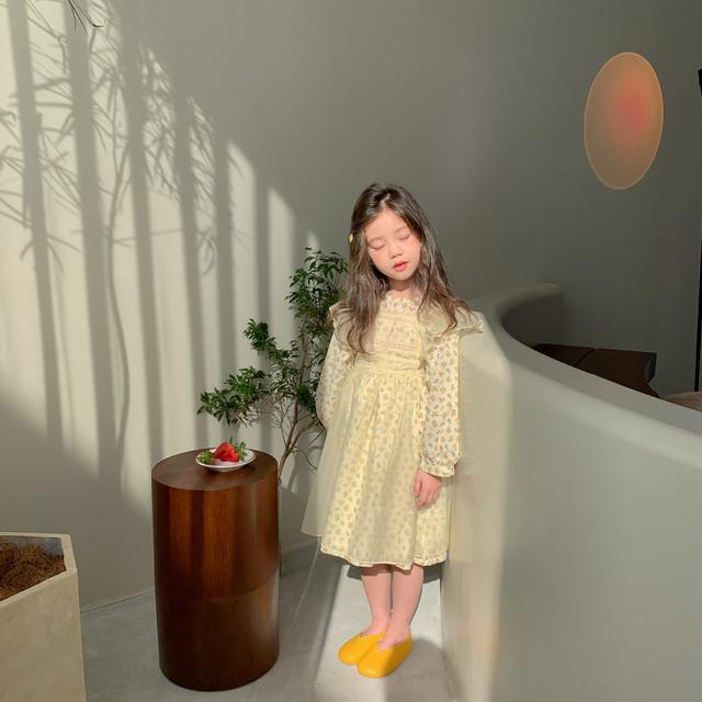 *7/22-25 新商品10%off【即納】レイヤード 小花柄ワンピース エプロン 2021SS 春夏 韓国子供服