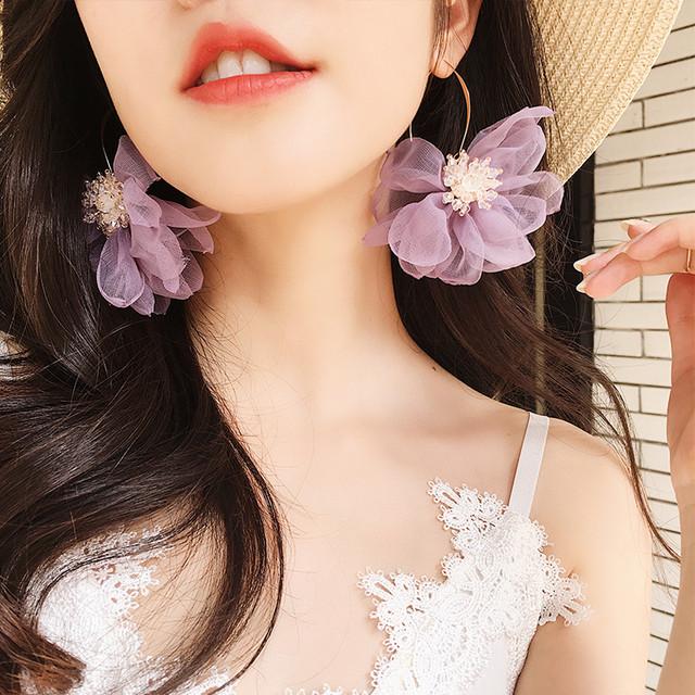 【小物】アクセサリー超人気スウィートチュール花柄ファッションピアス