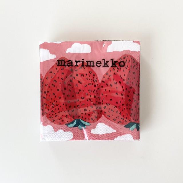 2021春夏【marimekko】カクテルサイズ ペーパーナプキン MANSIKKAVUORET ローズ 20枚入り