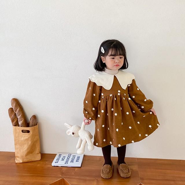 【韓国子供服 子供服 ドット厚地生地 冬ワンピース】水玉 ブラウン ゆったり スカート 長袖 ナチュラルカラー 女の子 80cm -140cm  ベビー服 キッズ お出かけ おしゃれ着