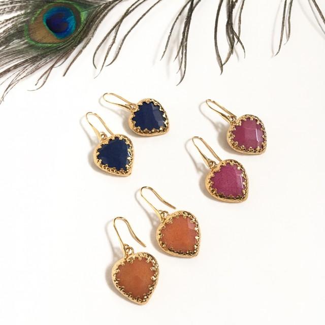 Heart stone pierce ※イヤリング交換可能