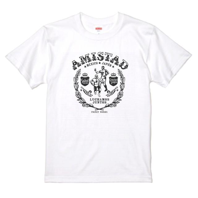 AMISTAD WHITE 黒プリント メキシコと日本の友情T ルチャリブレ 白Tシャツ
