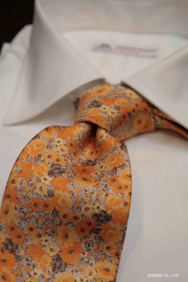 イエローのフラワープリントのネクタイ イタリア老舗ネクタイメーカーALBENIアルベニ社製