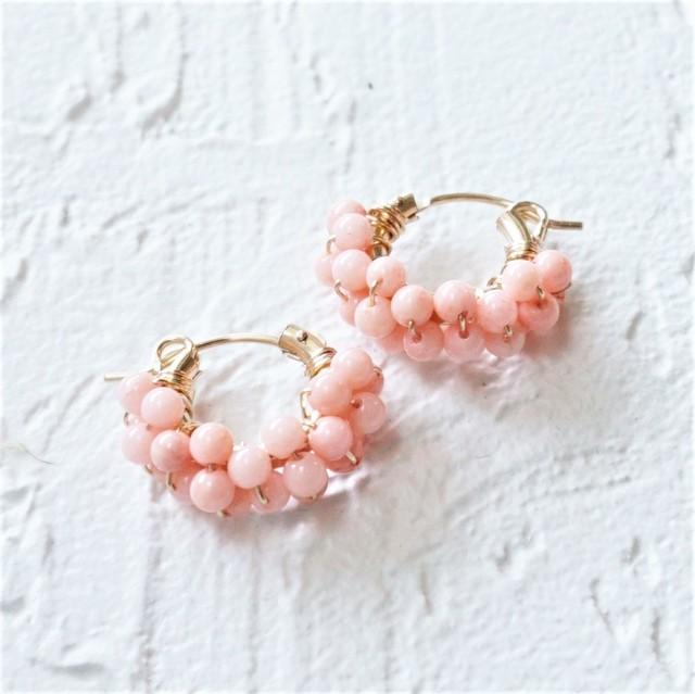 送料無料 14kgf*Pink Coral pavé pierced earring / earring M