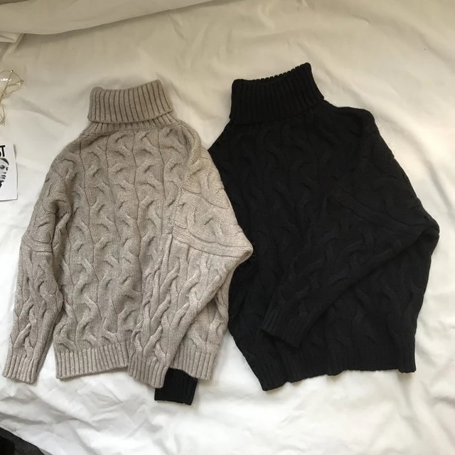ツイスト編み タートル ニット / ラグラン袖 ザックリ オーバーサイズ セーター トップス レディース