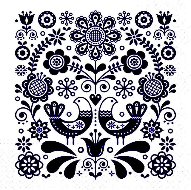 2021春夏【PAW】バラ売り2枚 ランチサイズ ペーパーナプキン Folk Stamp ブルー