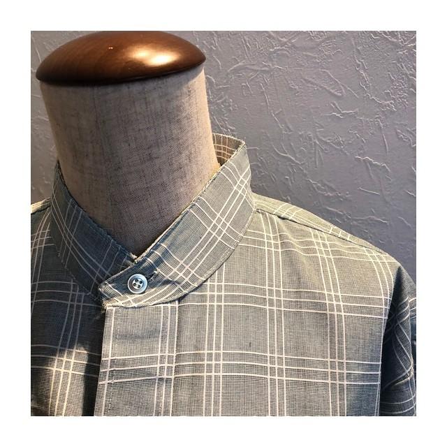70s mintblue check shirt
