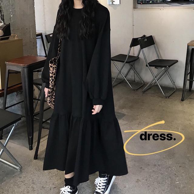 ワンピース 裾フレア ボリューム袖 韓国ファッション レディース ロング丈 ゆったり ルーズウエスト パフ袖 長袖 レトロ / Chic and gentle black skirt long dress (DTC-600921917884)