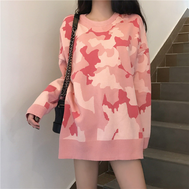 【tops】ハート柄スウィートハイネックセーター