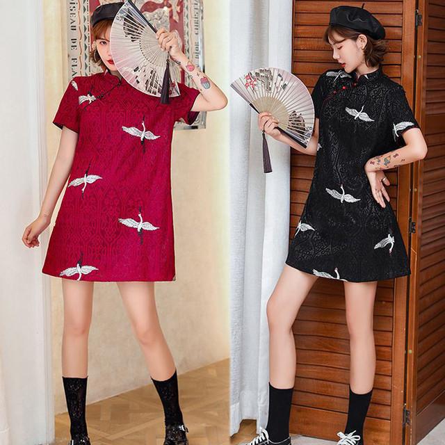 【YILAIシリーズ】★レースチャイナドレス★ 3color 黒or白or赤 ワンピース 鶴 大きいサイズ 可愛い ファッション M L XL 2XL 3XL 4XL
