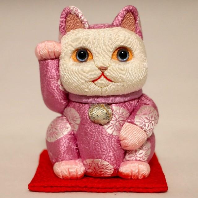 まねき猫(小) 正絹有職(桃)