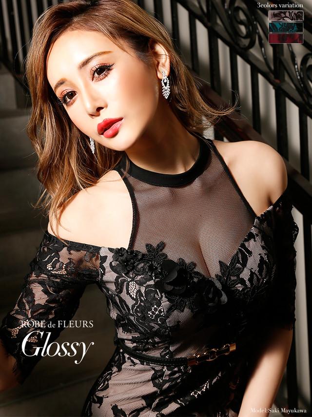 【ROBE de FLEURS Glossy】立体フラワーレース×ホルターネックタイトミニドレス[ベルト付き](GL1700)