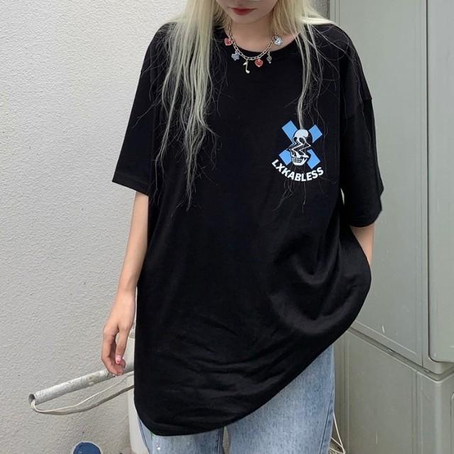 【トップス】ストリート系半袖ラウンドネックプルオーバーTシャツ48370108