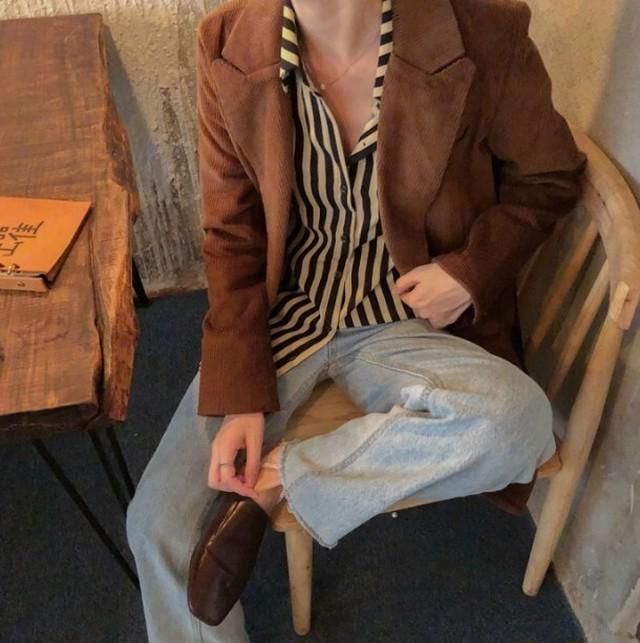 コーデュロイジャケット&ストライプシャツ セット