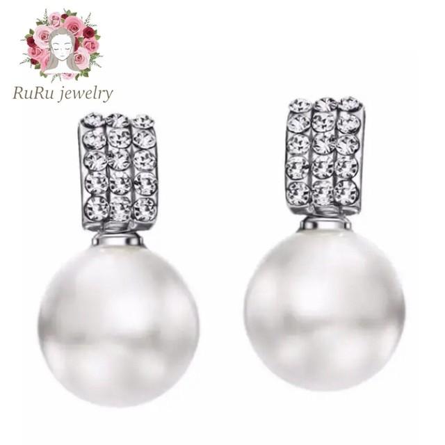 Jewel drop pearl(pierce)