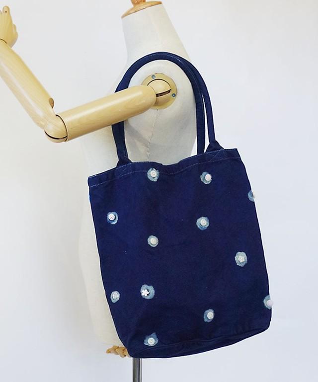 藍染 バケツ型 トートバッグ 型染め 手染め オリジナルなハートのバラ キャンバスバッグ小