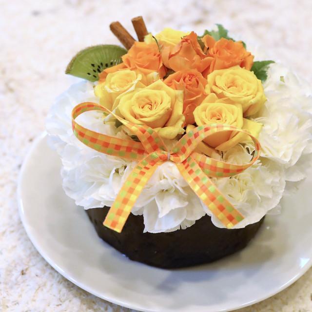 フラワーケーキ,生花,イエロー