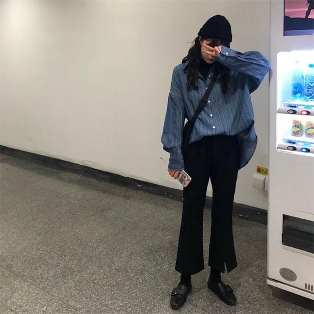 P1866 ストライプ ロングシャツ ビッグシャツ オーバーサイズ カジュアルパンツ ハイウエスト ハイウエストパンツ トランペットパンツ 9分丈 ブルー ブラック(上下別売り 単品商品)
