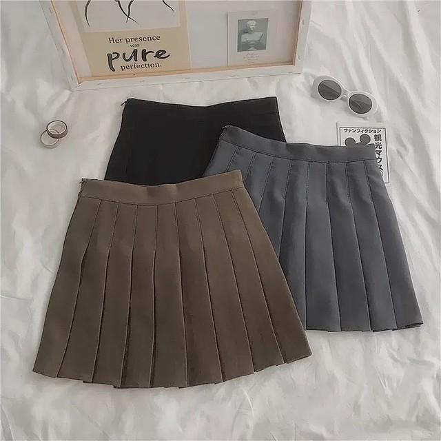mini pleats skirt 3color