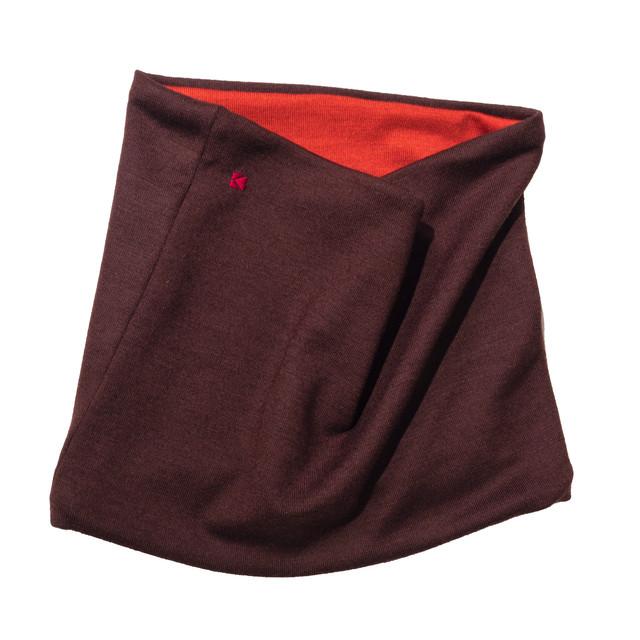 【ネックウォーマー】1007 ブラウン×オレンジ/ウール100%/スッキリ首元を暖かく/お手軽コーデ