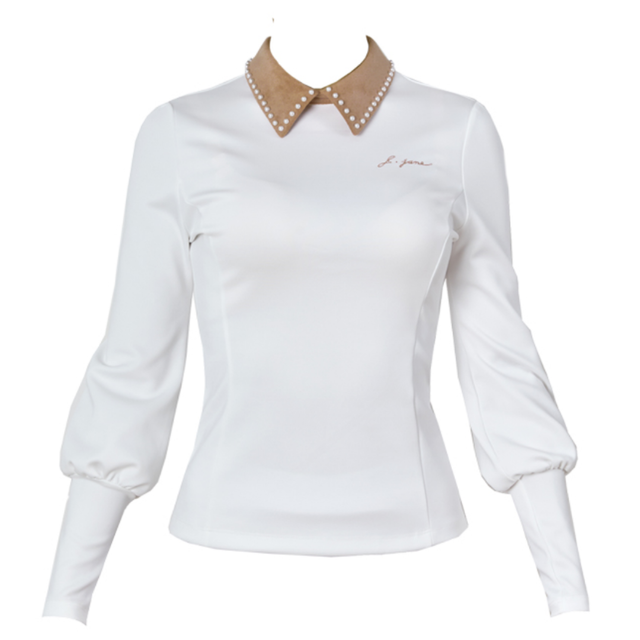 Suede Pearl collar T-shirts(Beige)