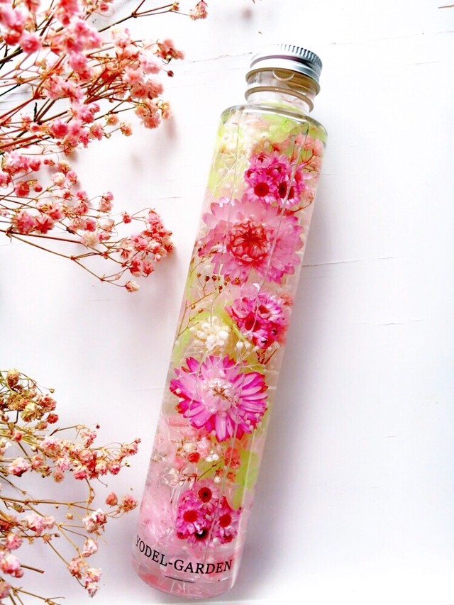 ハーバリウム(L) ヘリクリサムとピンクの小花