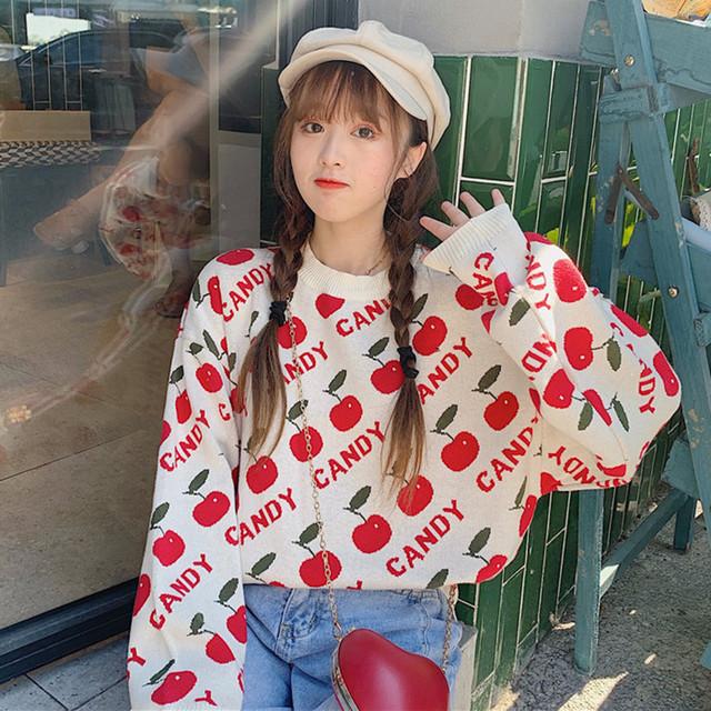 【トップス】フルーツカジュアルプリントピンクセーター23330920