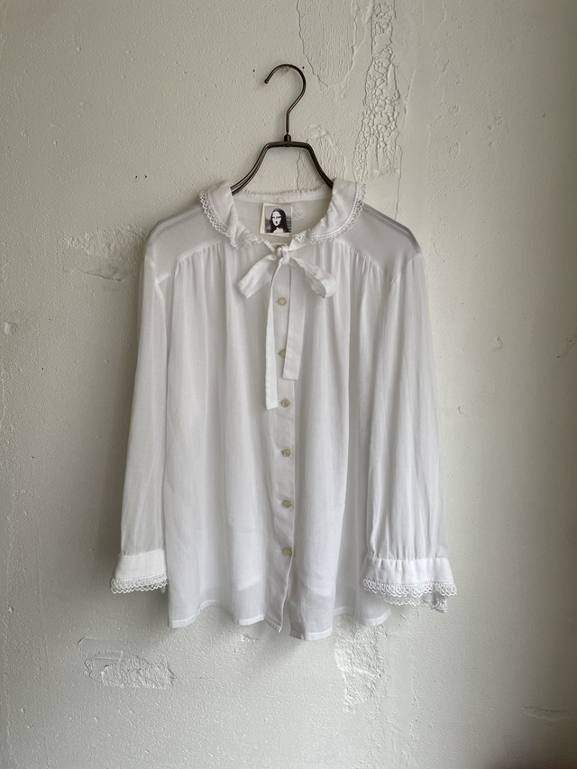 made in Germany vintage cotton blouse with ribbon