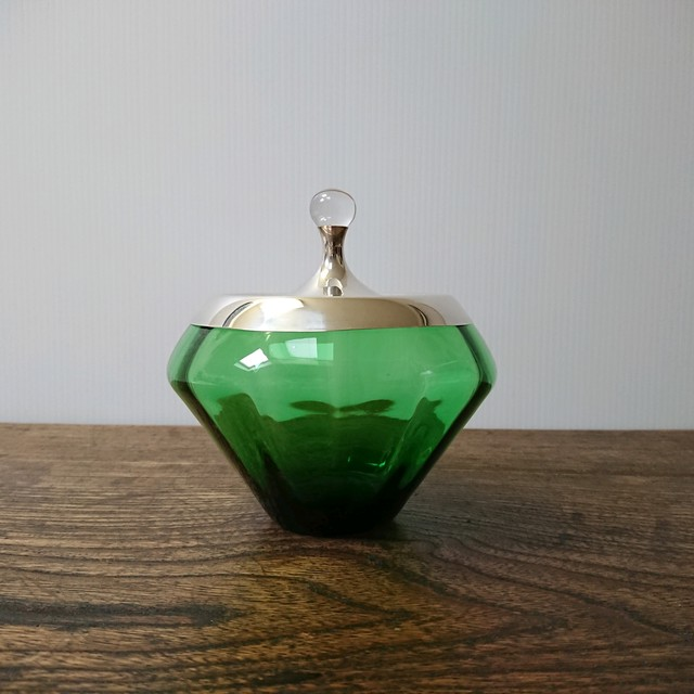60's USA Gorham社 キャンディポット 純銀蓋 北欧ガラス使用 スターリングシルバー925