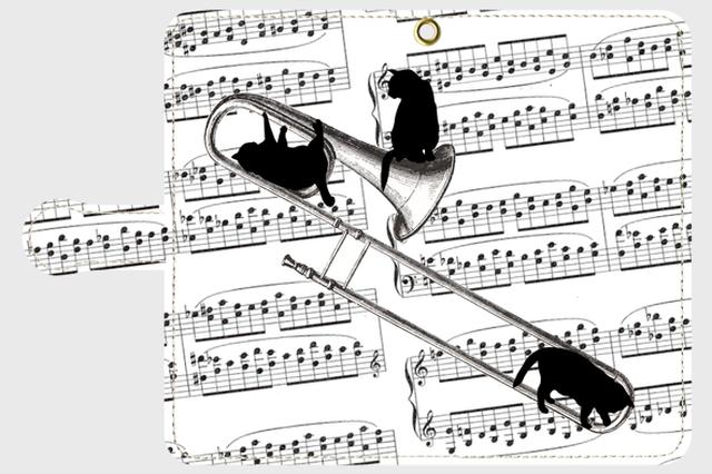 (Android用)トロンボーンと黒猫の手帳型スマホケース