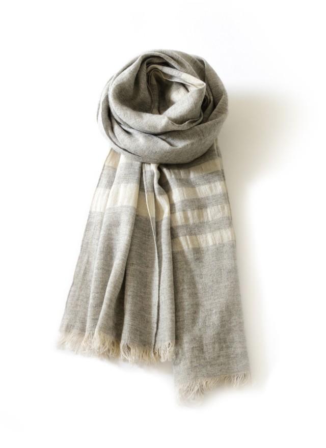 Toyoboshi | Striped Stole Ⅲ [ Flax Linen 52% Cashmere 48% ]