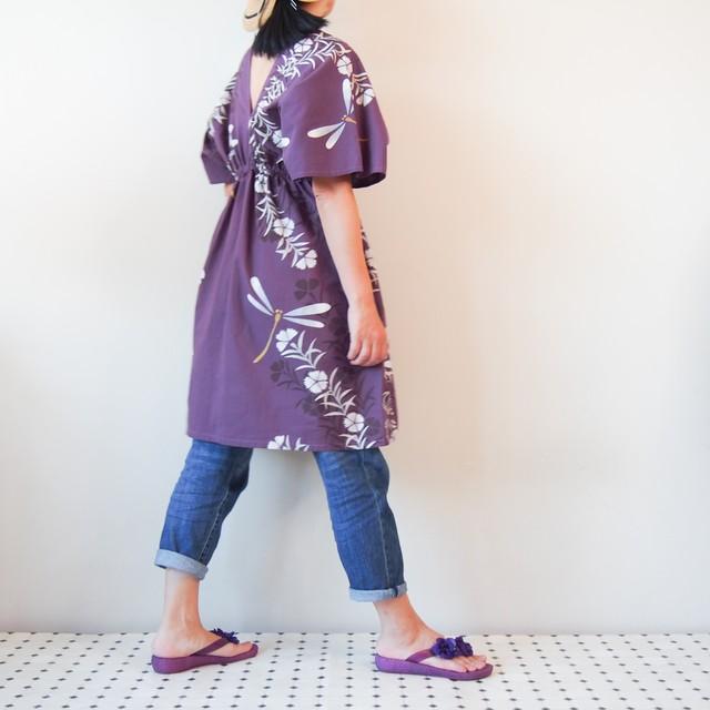 OKINAWA KAFTAN MIDI -トンボ柄の浴衣地を使ったカフタンドレス 受注製作となります