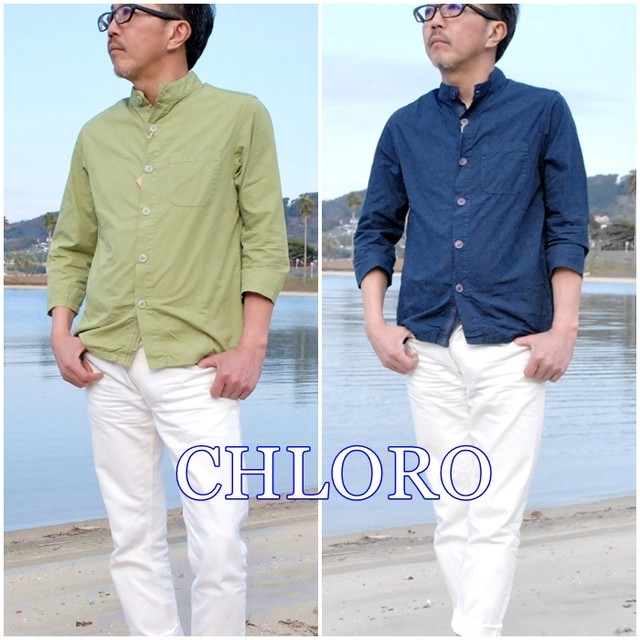 CHLORO クロロ メンズ 七分袖シャツ スタンドカラー シャツ C6581